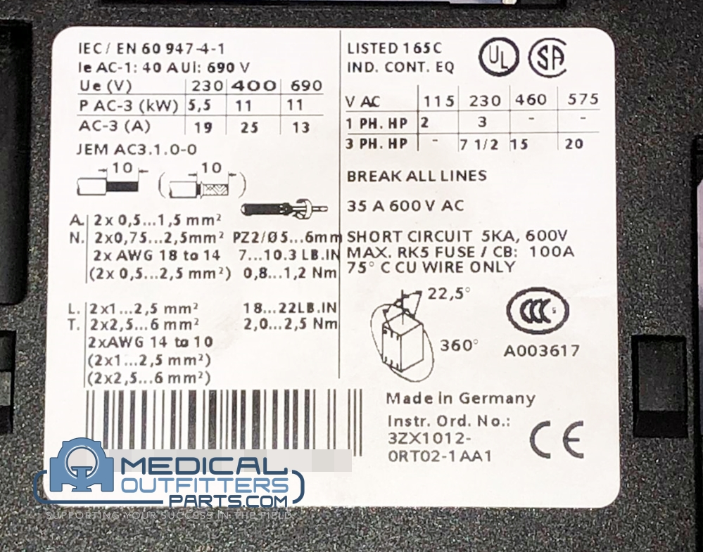 Siemens Sirius 3 Phase IEC Rated Contactor, 7.5 HP at 230V  and 15 HP at 460V, Include L0040922, PN 3085107, 3RT1026-1B..0
