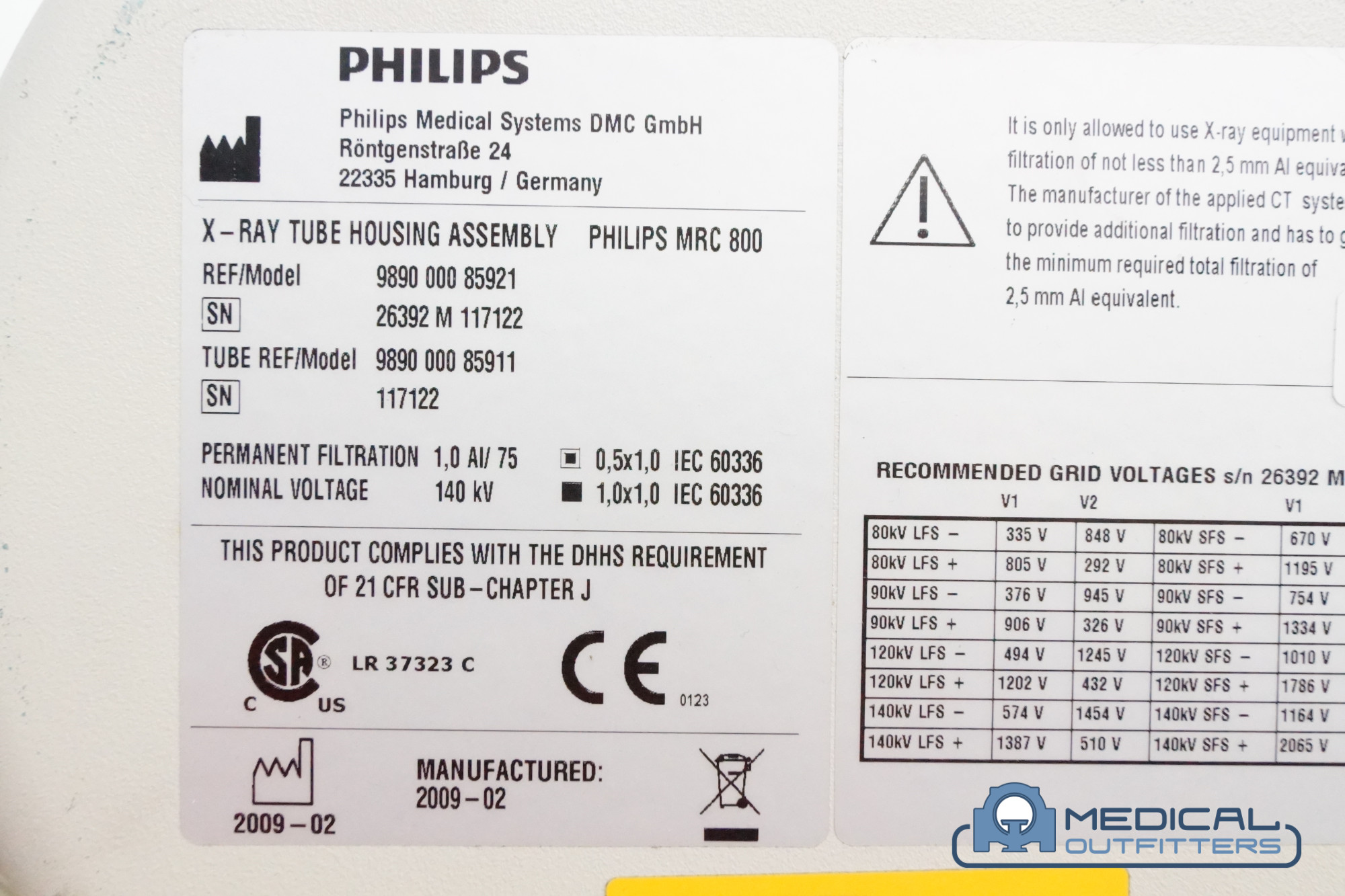 Philips Brilliance 40 Slice MRC800 X-Ray Tube, DOM:2009-02, Model 989000085921, TUBE 989000085911