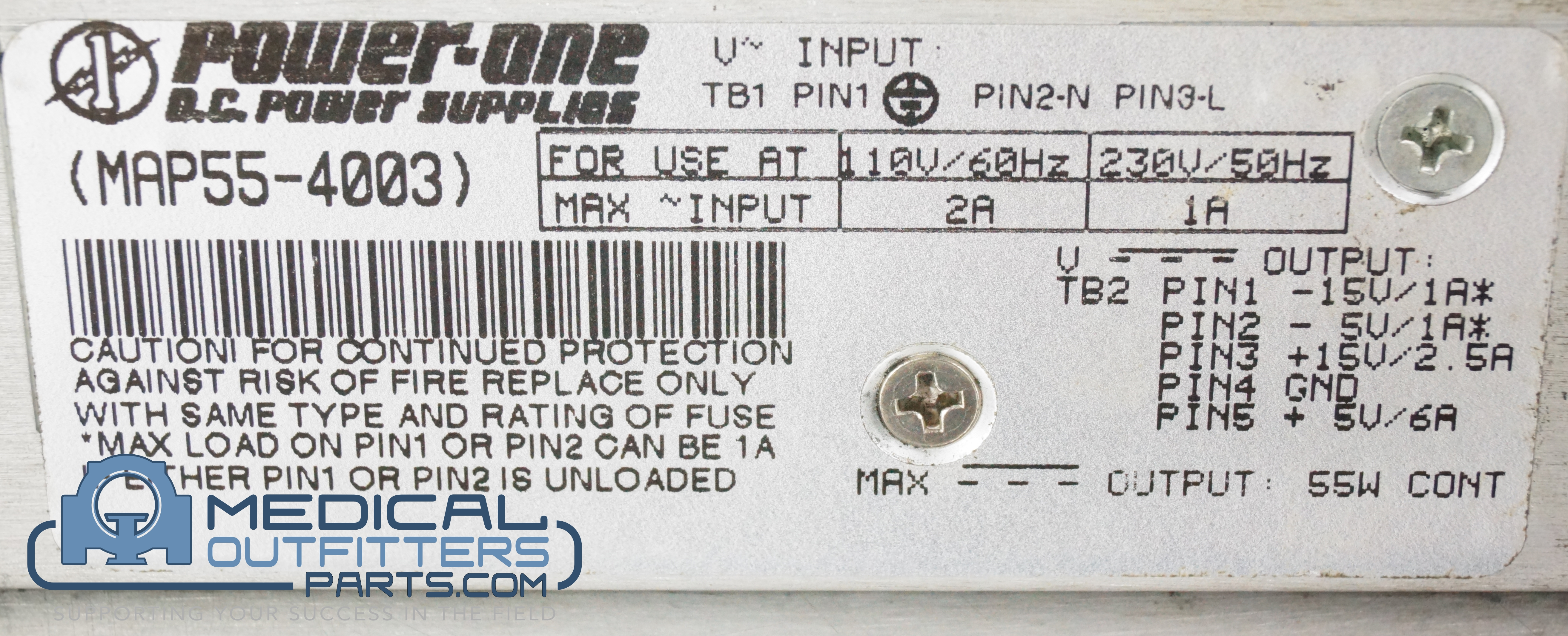 Power One AC/DC Power Supply Quad-OUT, PN MAP55-4003