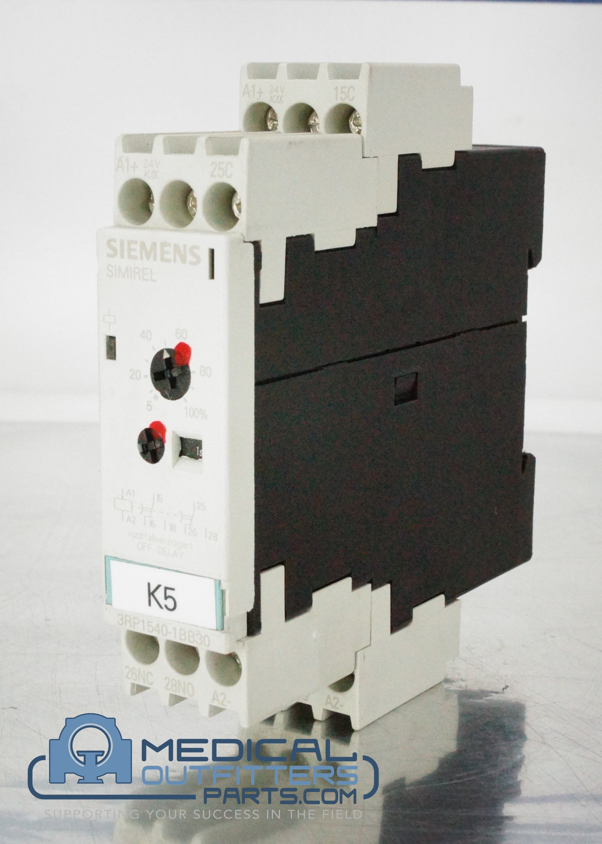 Siemens Sirius Time Relay - Off Delay, 1 C, 7 Ranges 0,05...100 S AC/DC 24 V, With LED, PN 3RP1540-1BB30