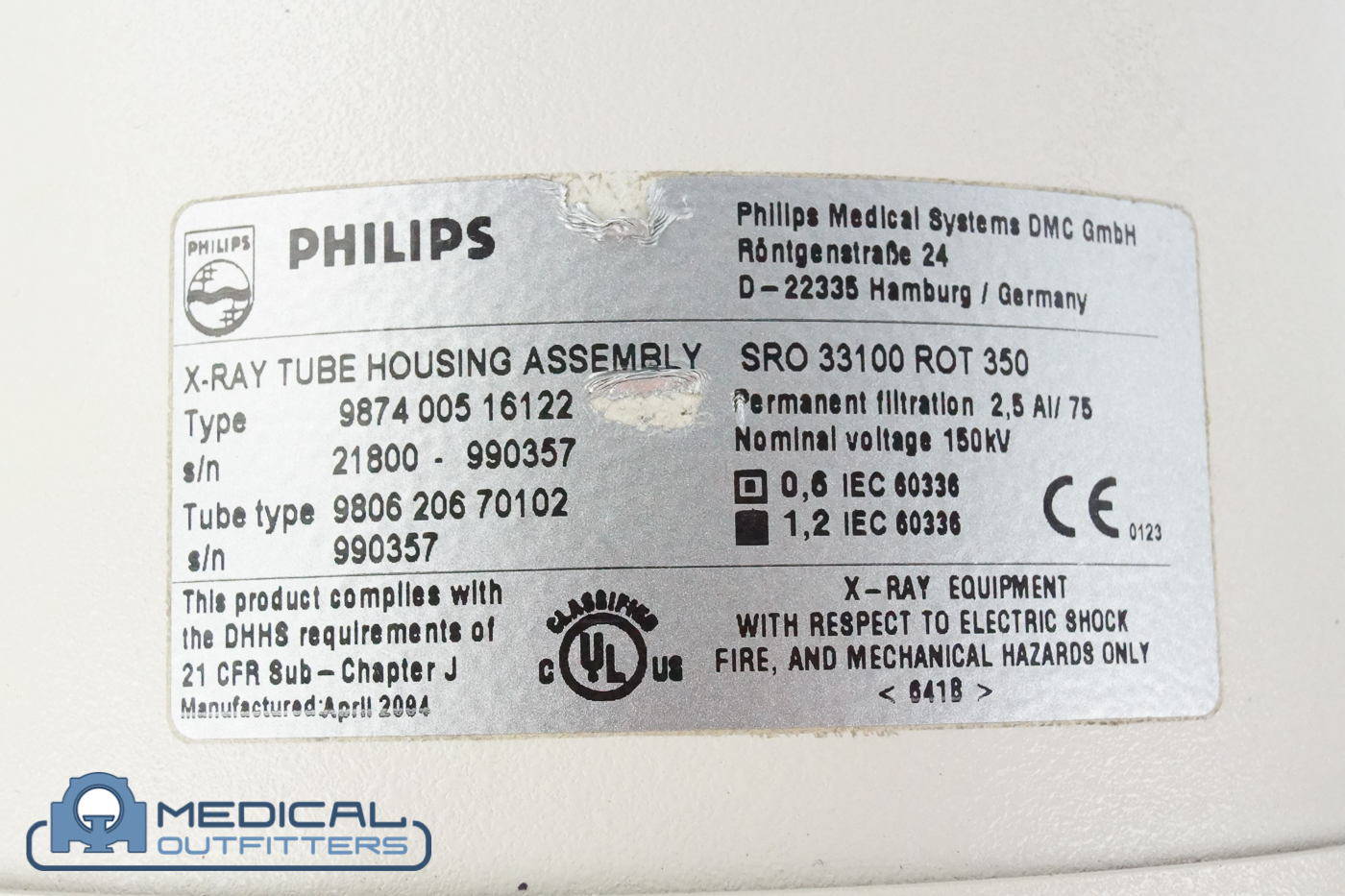 Philips Bucky Diagnost Tube Housing Assembly , PN 987400516122